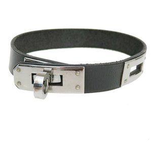 HERMES Logo Kelly Bracelet Bangle Leather Black Silver Accessory 69MK057